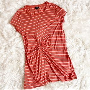 Anthropologie Deletta Coral Orange Striped Dress